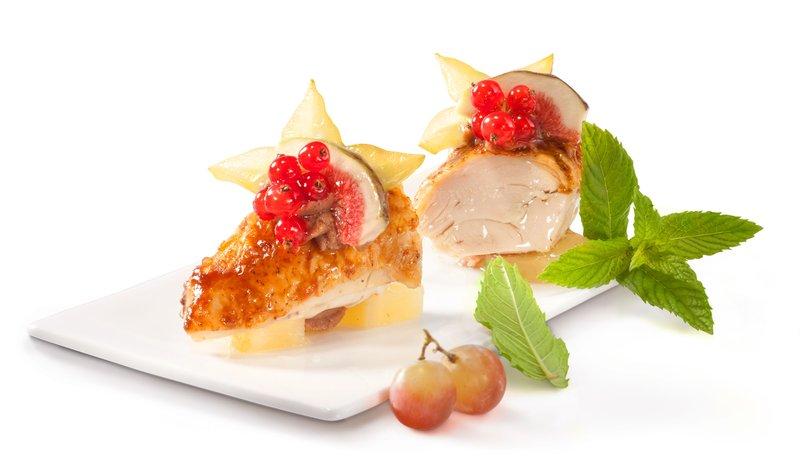 Poularde, Ananas, Marone