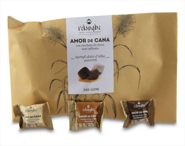 Piemonteser Haselnusstrüffel mit Vollmilch-, Edelbitter- und weißer Schokolade
