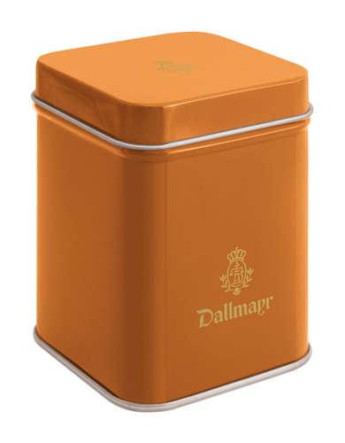 Teedose leer, orange Dallmayr Logo, Inhalt 50g
