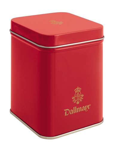 Teedose leer, rot Dallmayr Logo, Inhalt 100g