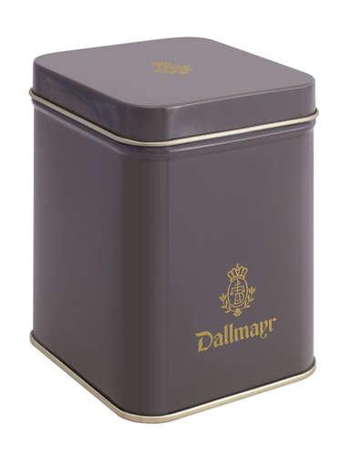 Teedose leer, dunkelgrau Dallmayr Logo, Inhalt 100g