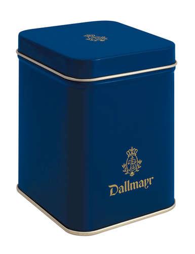 Teedose leer, dunkelblau Dallmayr Logo, Inhalt 100g