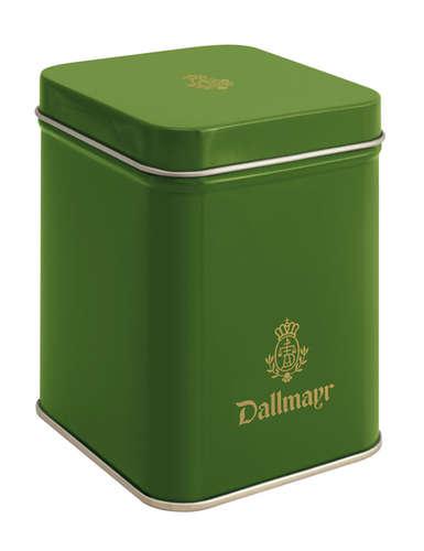 Teedose leer, dunkelgrün Dallmayr Logo, Inhalt 100g