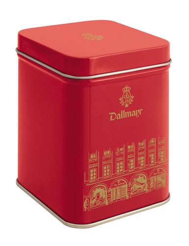 Teedose leer, rot mit Hausmotiv, Inhalt 100g