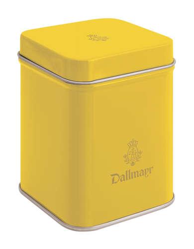 Teedose leer, gelb Dallmayr Logo, Inhalt 50g